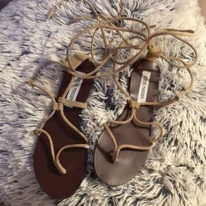 Nude tip up sandals